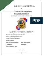 Planeacion de La Ingenieria de Sistemas - Sis 308