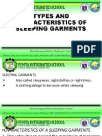 types and characteristics of sleeping garments