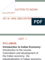 Indian Economy & Policy-  Indian economy in the colonial period Dr. M. Vani