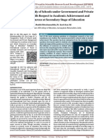 A Comparative Study of Schools under Government and Private Management with Respect to Academic Achievement and School Resources at Secondary Stage of Education