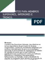 Alongamentos Para Membros Superiores, Inferiores e Tronco