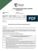 Admission Offer Letter
