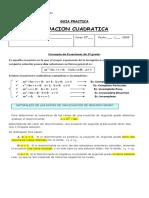 Guia Practica 2 Ecuaciones de Segundo Grado