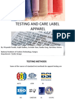 Testing Methods for different apparel and Care Labels