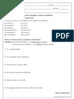 Atividade de Português Verbo No Pretérito Imperfeito Do Indicativo 7º Ano Modelo Editável