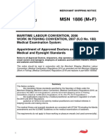 MSN 1886 M F MLC and ILO 188 Work in Fishing Convention Medical Examination System Appointment of Approved Doctors and Medical and Eyesight Standards