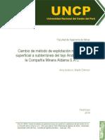 Cambio de Método de Explotación Minera de Superficial a Subterránea Del Tajo Andrea Sur en La Com