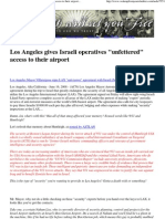 Los Angeles Gives Israeli Operatives Unfettered' Access to Their Airport