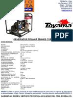 Generador Electrico Toyama Td-6000 Cxe Diesel P_electrica-0