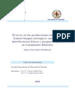 El Error en Las Producciones Escritas de Frances Lengua Extranjera Analisis de Interferencias Lexicas y Propuestas Para Su Tratamiento Didactico 0