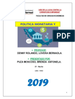 La Politica Monetaria.