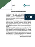CIN Declaración Ante La Situación Social, Económica y Política