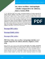 Otras Tribus Otros Escribas Antropologia Simbolica en El Estudio Comparativo de Culturas Historias Relig EHeaL