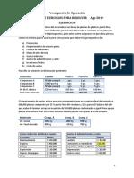 Ejercicios de Presupuestos Operacion Clase Ago 2019