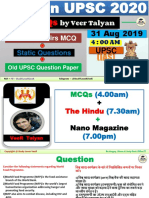 31 August 2019 MCQ for UPSC by VeeR Talyan