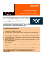 Learning Info Sheets Choosing Your Degree Course