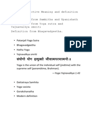 Definition According To Various Texts Patanjali Yoga