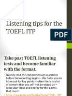Tips for the toef litp