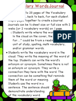 Vocabulary Words Journal