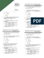 Ulangan Blok II Persamaan Fungsi Kuadrat