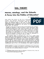 1967. Morals, Ideology, And the Schools. a Foray Into the Politics of Education
