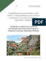 Cuantificación de ácido oleanólico, ácido  ursólico y ácido rosmarínico en tres especies  peruanas de Clinopodium (Lamiaceae,  Nepetoideae, Mentheae)