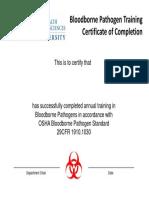 OSHA Certificate 2019