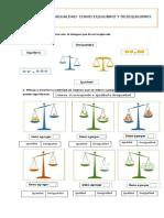 Guía de igualdades y desigualdades 1° básico
