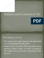 Subject and Content of Art
