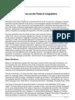 Semantics as the Field of Linguistics 2