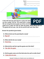 Reading Comprehension Stories Answersheet 7
