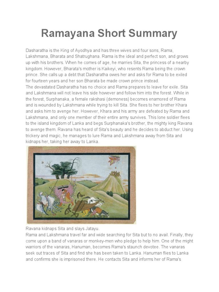 Story summary ramayana Students Journal: