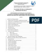 ESPECIFICACIONES TÉCNICAS, GENERALES Y GENERALES TÉCNICAS PARA DISEÑO