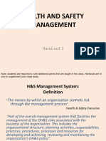 A handout in Health and Safety Management