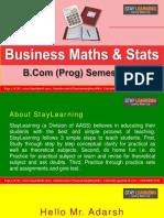 B.com Prog - Sem III - Business Mathematics and Statistics