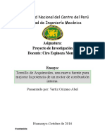 ENSAYO - Tornillo de Arquímedes, Una Nueva Fuente Para Mejorar La Potencia de Un Motor de Combustión Interna.
