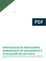 Protocolos de Indicadores AMBIENTALES de Seguimiento y Evaluación de Los Pgat
