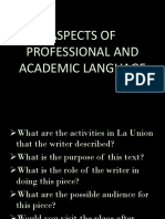 Aspects of Professional and Academic Language
