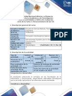 Guía de Actividades y Rúbrica de Evaluación Ciclo de La Tarea1 Reconocimiento de Las TIC