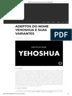 Adeptos Do Nome Yehoshua e Suas Variantes