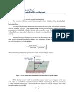 LAB MANUAL. EXPERIMENT 1. Viscosity of Fluids (Ball Drop Method)