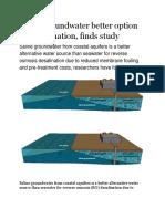 Saline Groundwater Better Option for Desalination