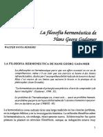 """""""La filosofía hermenética de Hans Georg Gadamer"""", Navia Walter"""