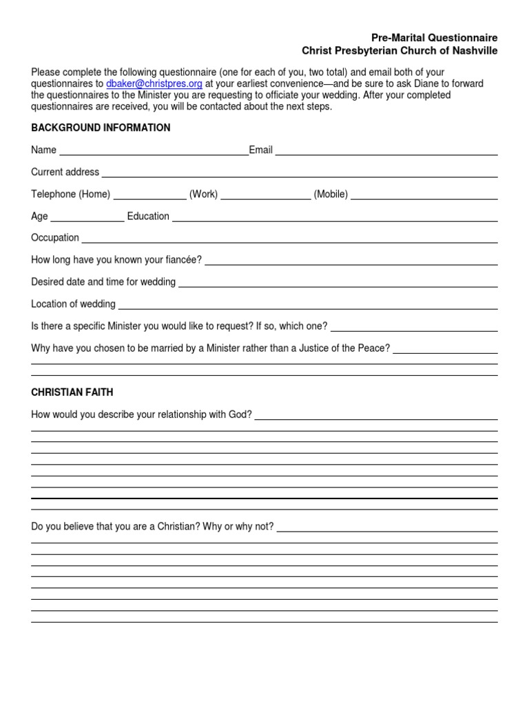 Marriage for pre couples questionnaire The Ultimate
