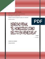 Derecho Penal. El Homicidio Como Delito en Venezuela