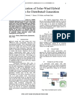Optimization of Solar-Wind Hybrid System for Distributed Generation