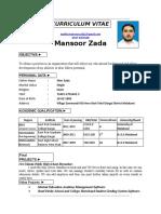 Mansoor Zada CV