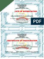 Certificate INSET