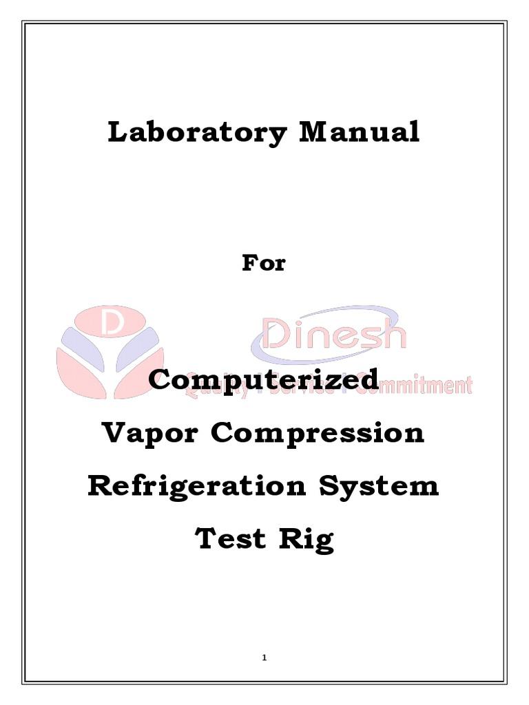 Vapor Compression Refrigeration Test Rig Computerised Lab