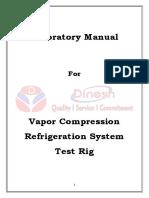 Vapor Compression Refrigeration Test Rig Lab Manual Latest
